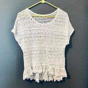 Hollister White Knit Short Sleeve Sweater